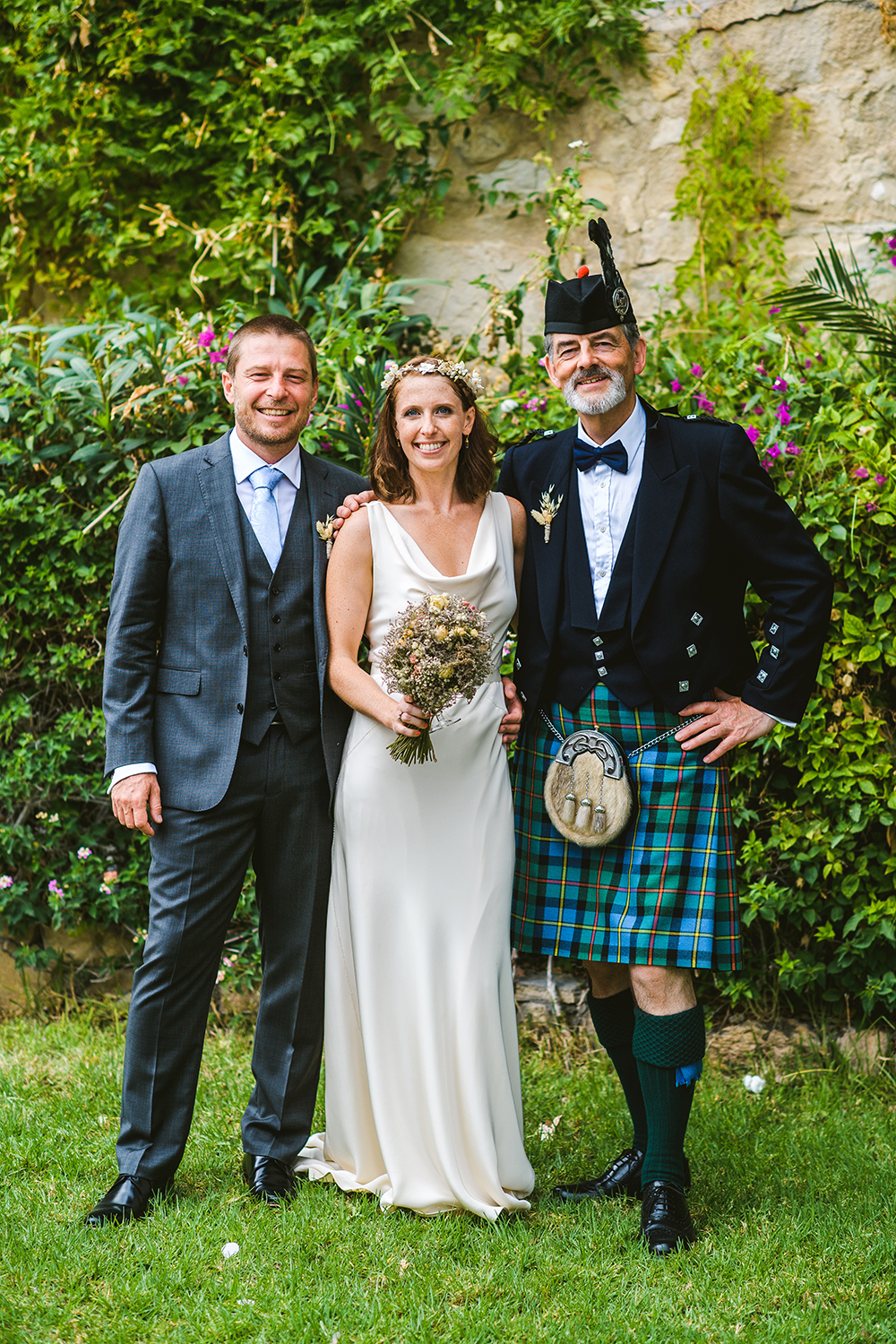 Wedding piper with couple in Cyprus