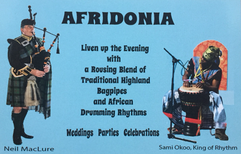 Highland Piper and African Djembi player
